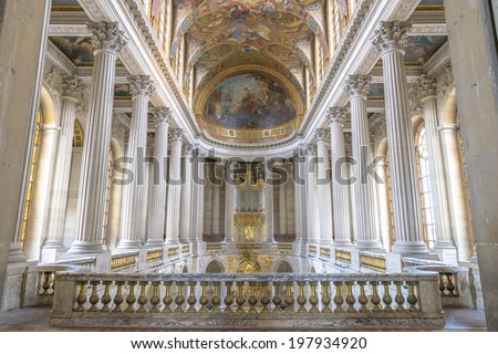 Paris - August 31: Famous Royal Chapel inside Versailles on August 31, 2013 in Paris, France - stock photo