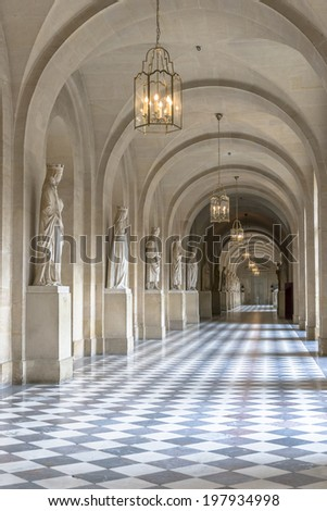 Paris - August 31: Hall inside Versailles Chateau on August 31, 2013 in Paris, France - stock photo