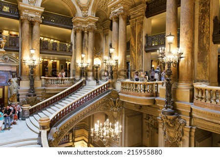 PARIS, August 4, 2014: Interior view of the Opera National de Paris Garnier, France.  It was built from 1861 to 1875 for the Paris Opera house  - stock photo