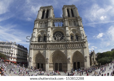 PARIS - AUGUST 04: Norte Dame Cathedral is on of Paris's most visited tourist attractions. 04 August 2013, France.