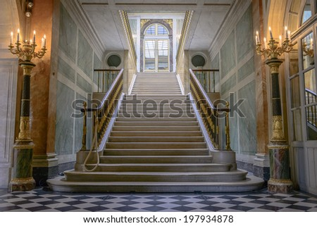 Paris - August 31: Stairs in Chateau de Versailles on August 31, 2013 in Paris, France - stock photo