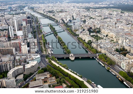 Paris, August 8, 2015 : View of Paris from the Eiffel Tower of the Paris's main attractions. Travel background