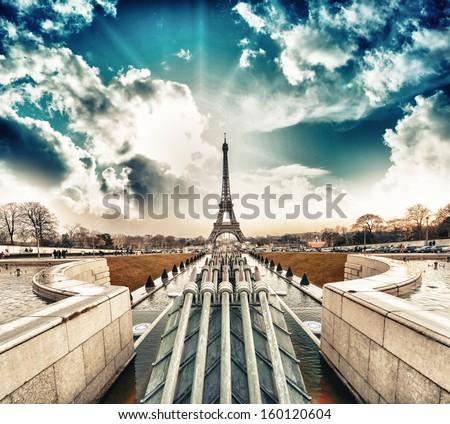 Paris. Beautiful Eiffel Tower landmark, view at sunset from Trocadero area. - stock photo