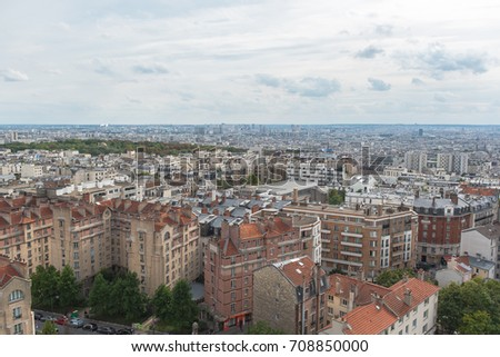 Paris, beautiful panorama of the city and the famous monuments