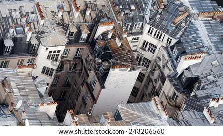 Paris Buildings from top - stock photo