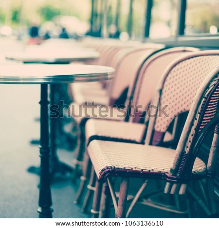 Paris Cafe Tables Chairs Stock Photo Royalty Free - Paris cafe table