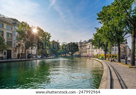 Paris - Canal Saint Martin, France - stock photo