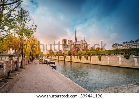 Paris -  Cathedral of Notre Dame, France. Daylight with blue sky and Seine river and the foreground./Paris - Notre Dame, France - stock photo