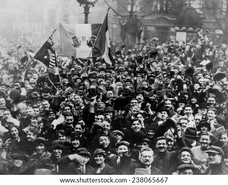 Paris celebrates the end of World War I France ca 1918