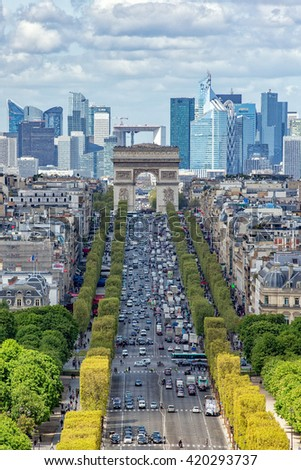 Paris champs elysee aerial view landscape from concorde place panoramic wheel