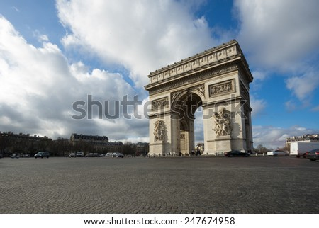 Paris, Champs-Elysees, Arc de triomphe - stock photo