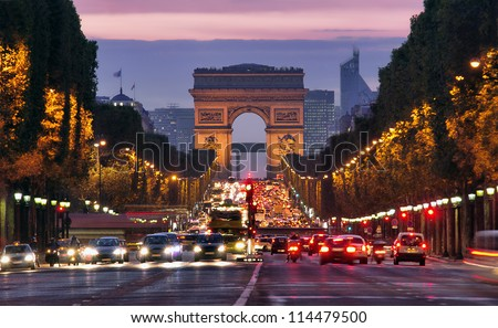 Paris, Champs-Elysees at night