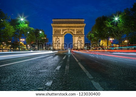 PARIS - CIRCA AUGUST 2012: Arc de Triomphe circa Aug. 2012 in Paris. The Arc de Triomphe is one of the most famous monuments in Paris. It stands in the centre of the Place Charles de Gaulle.