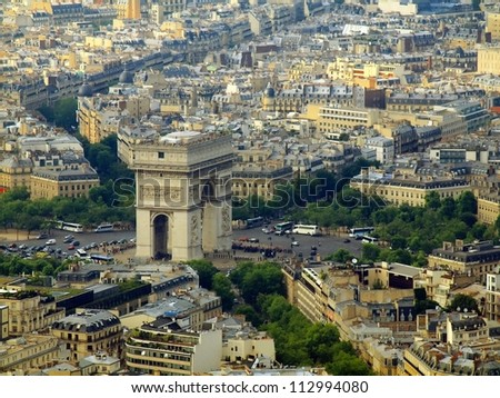 Paris city aerial view from Eiffel tower. Arch de Triumph. - stock photo