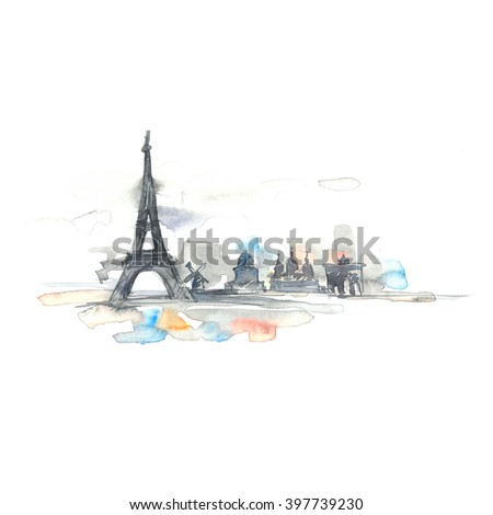 Paris city painted with splashes of watercolor drops. Watercolor illustration on white background. - stock photo