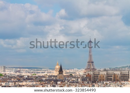 Paris city roofs with Eiffel Tower from above, France - stock photo