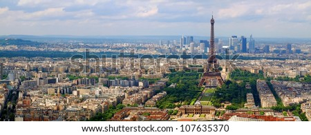 Paris city view from Montparnase tower. France. - stock photo