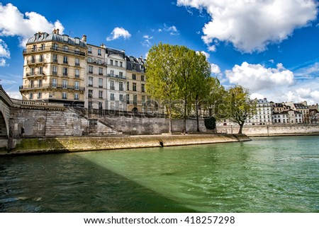 paris cityscape old houses landscape huge panorama view from seine river boat - stock photo