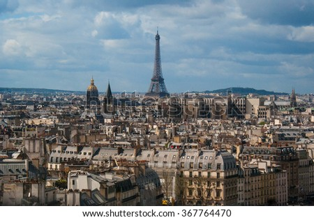 Paris cityscape with the view of the Eiffel tower