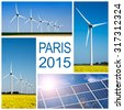 Paris 2015, climate change conference concept collage - stock photo