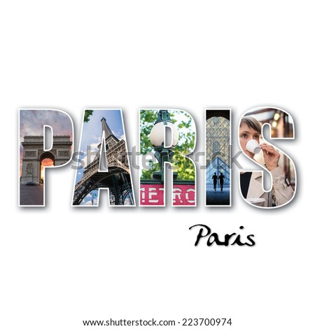Paris collage of different famous locations.  - stock photo