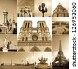 paris collage of the most famous monuments and landmarks - stock photo