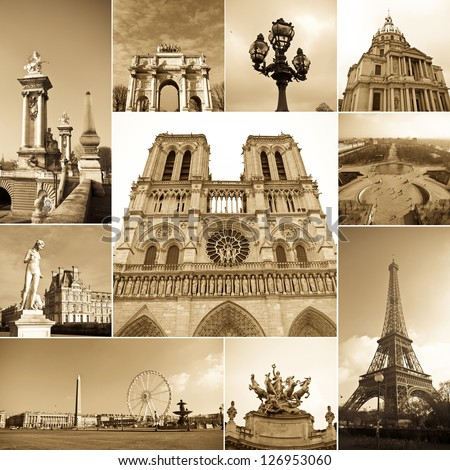 paris collage of the most famous monuments and landmarks