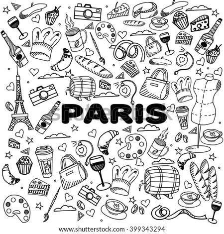 Paris coloring book line art design raster illustration. Separate objects. Hand drawn doodle design elements. - stock photo