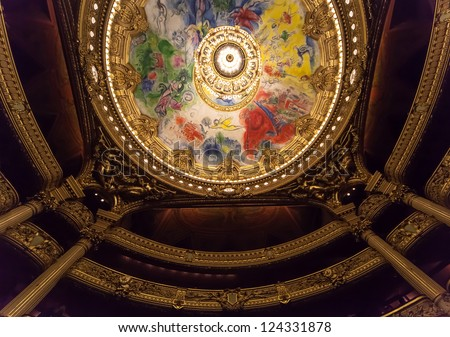 PARIS - DECEMBER 22 : An interior view of Opera de Paris, Palais Garnier, is shown on DECEMBER 22, 2012 in Paris. It was built from 1861 to 1875 for the Paris Opera house.