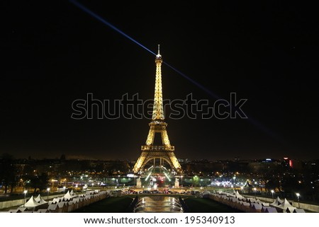 Paris - December, 30: Christmas market and light performance show on December, 30, 2013 in Paris, France.