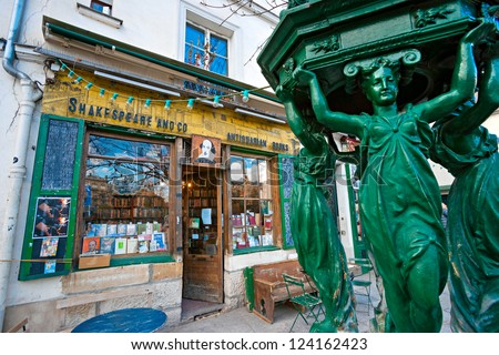 PARIS-DECEMBER 11: The Shakespeare and Co. bookstore on December 11, 2012 in Paris, Opened in 1951 by George Whitman near Notre Dame,is a reading library, specializing in English-language literature.