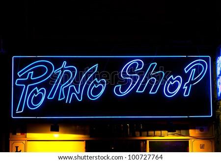 Paris - Detail of sexy shop sign, no copyrighted logo - stock photo