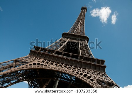 Paris - Eiffel Tower against a blue sky