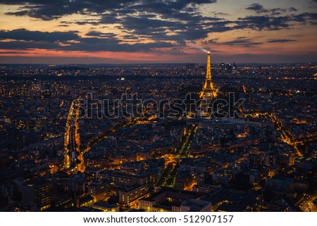 Paris, Eiffel tower, at evening sunset blue hour. View from Montparnasse