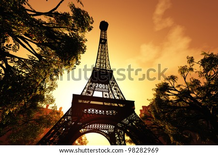 Paris Eiffel Tower 3D render