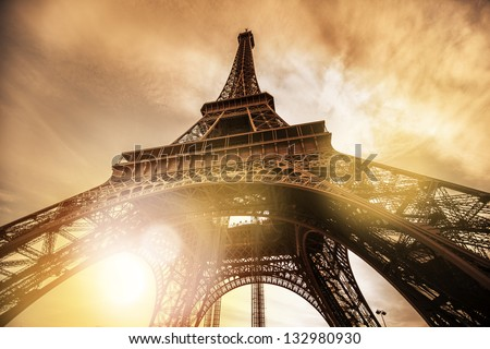 Paris Eiffel Tower During Sunset - stock photo