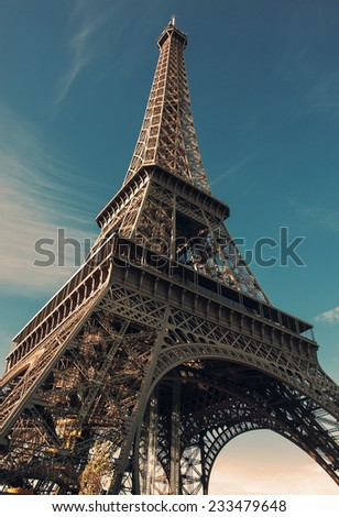 Paris. Eiffel Tower on the Champ de Mars. During shooting, the color filters applied to the discretion of the author - stock photo