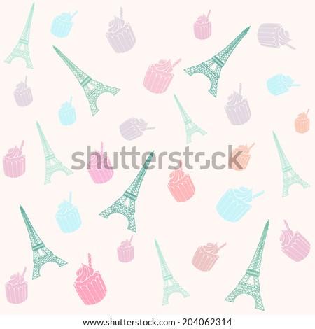 Paris Eiffel Tower pattern with cupcakes. - stock photo