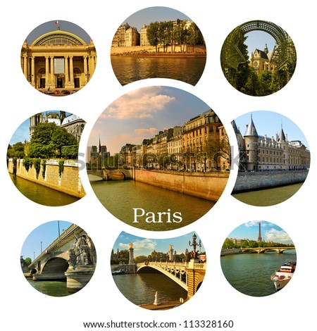 Paris. Eiffel tower, river Seine, palaces, townhouses and other famous places. Collage - stock photo