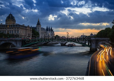 Paris evening lights