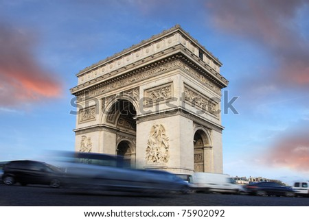 Paris, Famous Arc de Triumph with traffic jam - stock photo