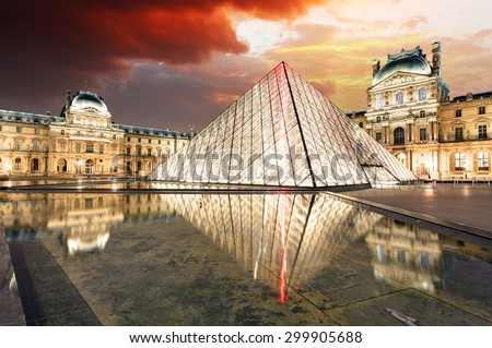 PARIS - FEB 9 : Louvre museum at twilight in summer on February 9,2015. Louvre museum is one of the world's largest museums with more than 8 million visitors each year. - stock photo
