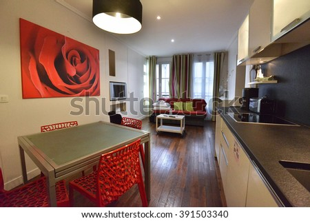 PARIS - FEB 12: view of Airbnb apartment interior on 12 February, 2015 in Paris, France.Airbnb is a web-based apartment-rental company with over 1,500,000 listings in 34,000 cities all over the world. - stock photo