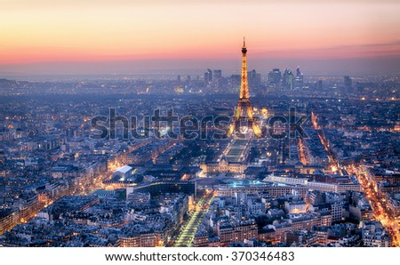 PARIS - FEBRUARY 3: Eiffel tower at night on February 3, 2015 in Paris. Night in Paris with Eiffel tower, most visited monument of France with 200.000.000 visit