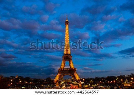 PARIS - FEBRUARY 23 : Eiffel tower at night on FEBRUARY 23, 2016 in Paris. The Eiffel tower is the most visited monument of France.