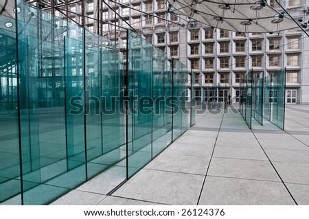 PARIS - FEBRUARY 27: glass panels at La Defense, February 27, 2009 in Paris. - stock photo