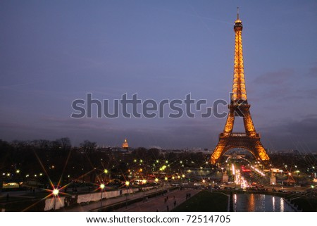 PARIS - FEBRUARY 6: The Eiffel Tower at night on February 6, 2011 in Paris. - stock photo