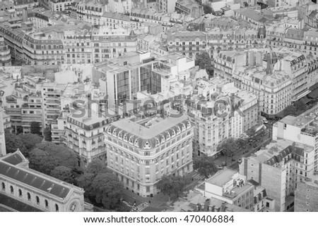 Paris, France - aerial city view. Black and white vintage style.