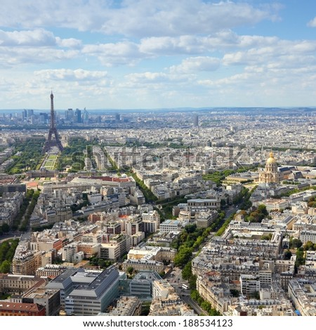 Paris, France - aerial city view Eiffel Tower. UNESCO World Heritage Site. Square composition.