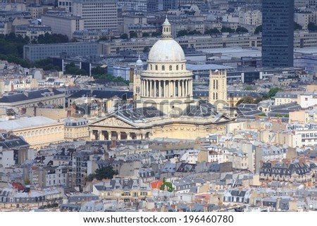 Paris, France - aerial city view with Pantheon. UNESCO World Heritage Site.